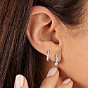 Small Silver Jagged Diamond Style Huggie Hoop Earrings image