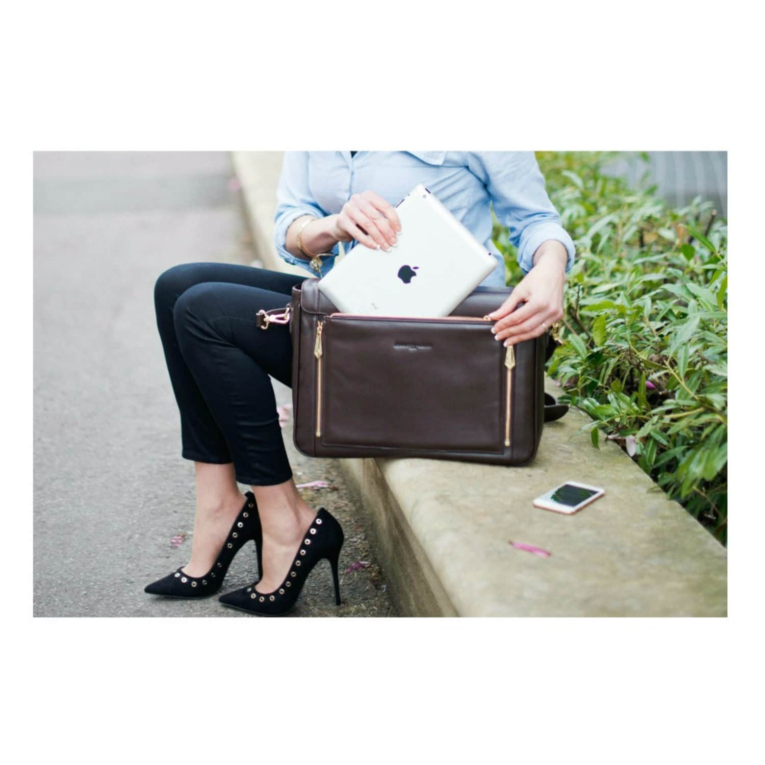9e257d1d14b Model KT Leather Messenger Bag in Chocolate with Detachable Clutch image