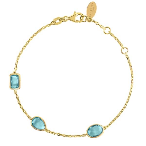 LATELITA LONDON Venice Bracelet Gold Blue Topaz