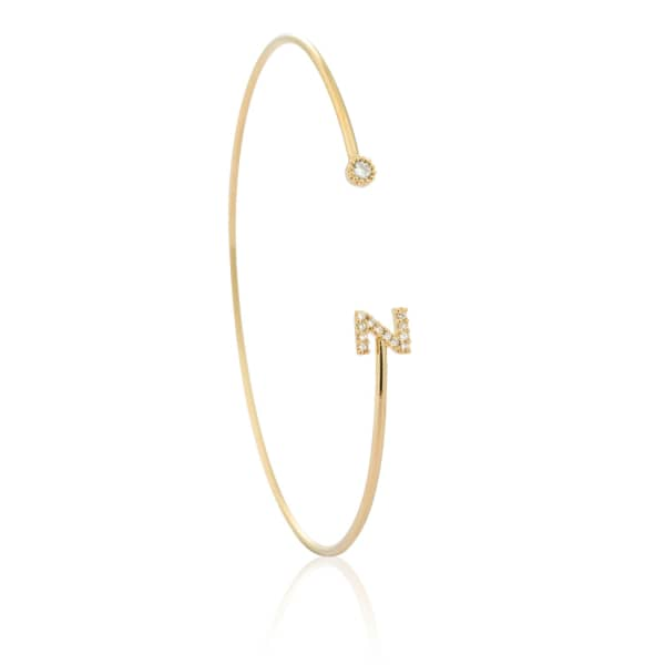Gold Initial Z Bangle