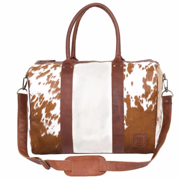 MAHI LEATHER Leather Cortes Overnight Weekender in Animal Print