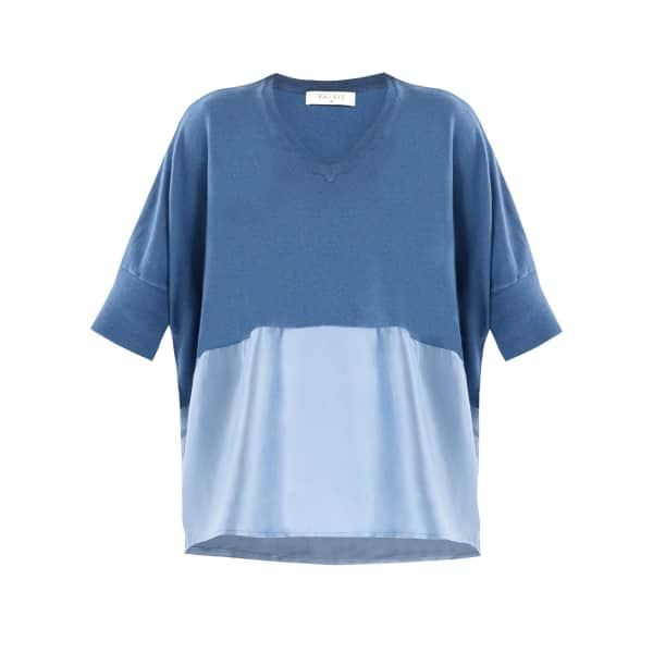 PAISIE Knitted V-Neck Top with Silk Panel in Blue