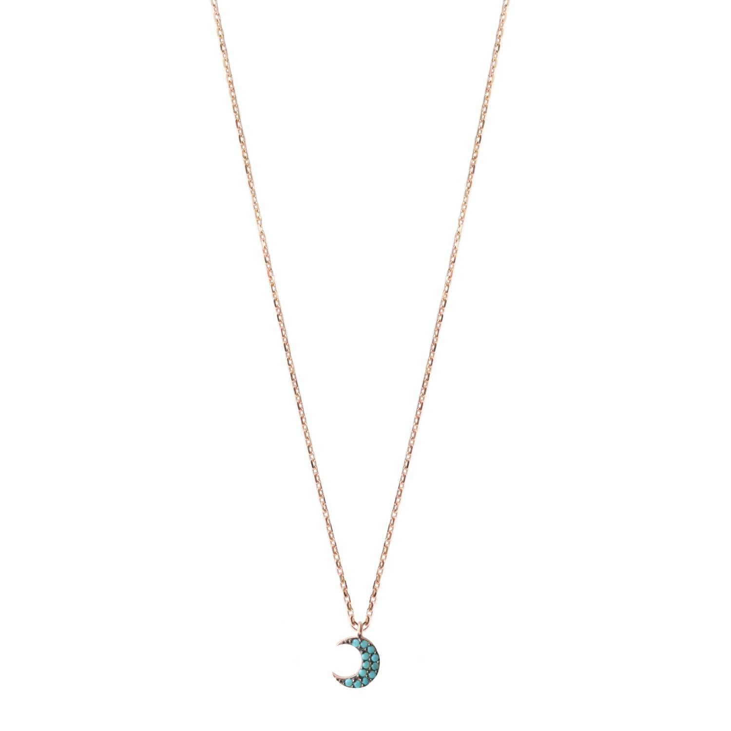 Turquoise Moon Crescent Necklace Rose Gold Wild Hearts Wolf Badger