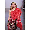 Red Silk Corset With One Shoulder Ruffle Top image