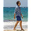 Mens Linen Shirt Fan Palm - Navy / Pale Blue image