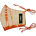 Orange Beige Tie-Dyed Pure Silk Habotai Face Mask image