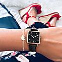 Neliö Square Vegan Leather Watch - Rose Gold, Black & Black image