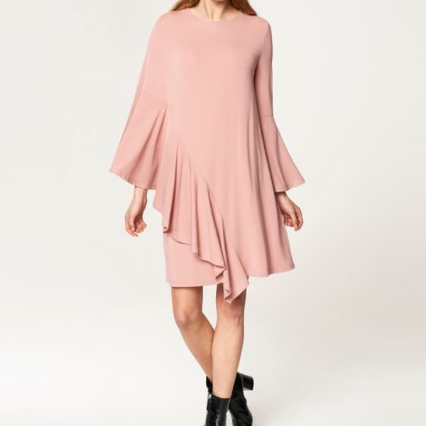 Paisie Round Neck Dress With Asymmetric Side Frill Overlay In Blush In White