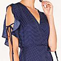 Polkadot Maxi Wrap Dress With Ruffle Tie Sleeves In Navy & White image