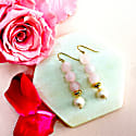 Round Rose Quartz And Freshwater Pearl Drop Earrings image