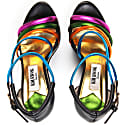 Colourful Sporty Wedge Sandals Black image