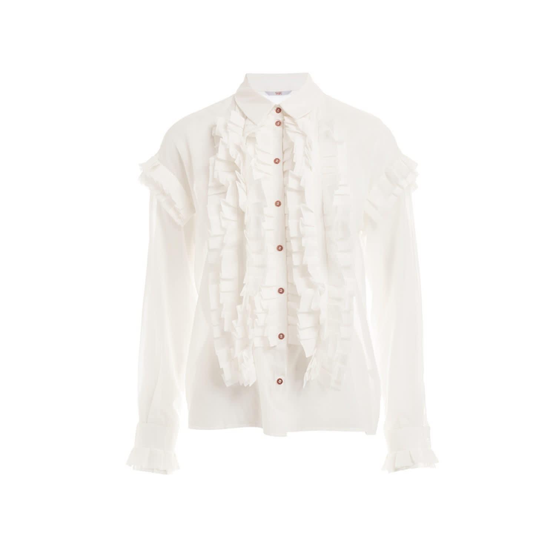 01ecb20936d7a Jesse White Cotton Ruffle Scarf Shirt image
