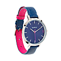 Montmartre Silver Watch With Royal Blue & Hot Pink Leather Strap image
