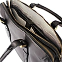 Dual Zip Laptop Bag Black Leather image