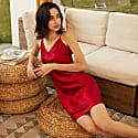22Mm Organic Silk Dress Elegant V-Neck-Marilyn Red image