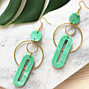 Solar Statement Earrings in Jade Green Marble & Gold image