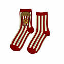 Red & Cream Stripe Cotton Socks With Deluxe Artisan Popcorn Brooch image