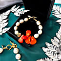 Farra Freshwater Pearls With Floral Corals Necklace & Bracelet Christmas Gift Set image