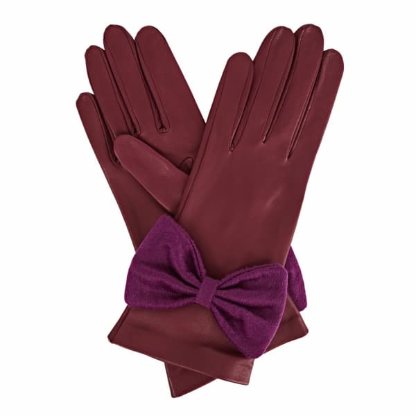 Josephine Purple Leather Gloves With Plum Cashmere
