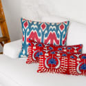 Red & Blue Hand Embroidered Suzani & Ikat Combination Cushion image