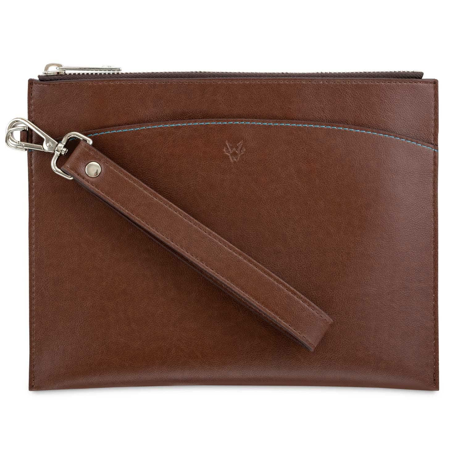 authentic quality famous brand new high Clutch With Handle In Oakbark by Watson & Wolfe