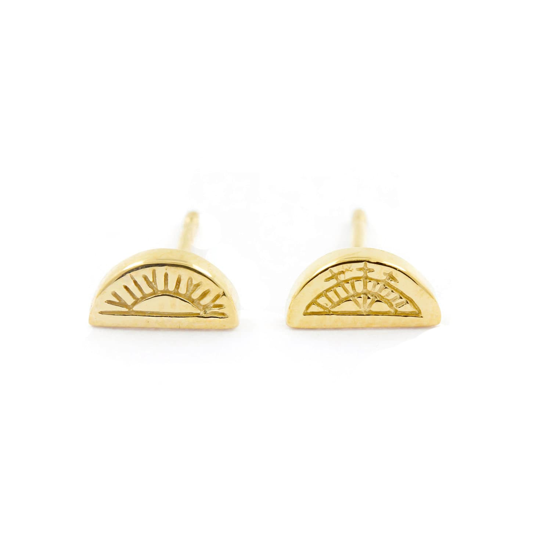 Sun & Moon Half Circle Stud Earrings Gold   No 13   Wolf & Badger