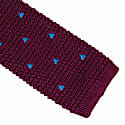 Burgundy Embroidered Triangles Silk Knitted Tie image