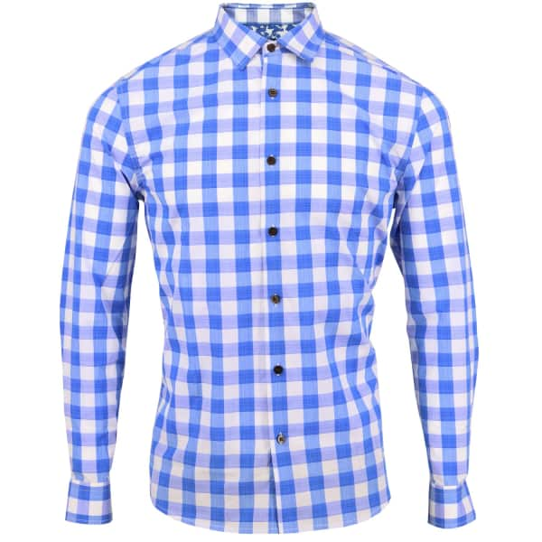 LORDS OF HARLECH Nigel Shirt In Azure Gingham
