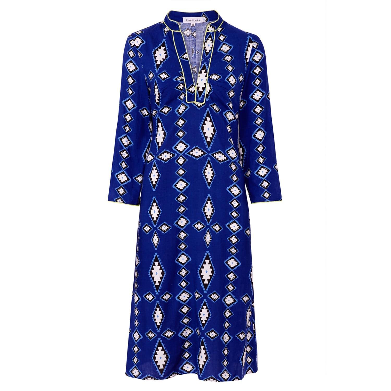 Long Beach Dress - Zig Zag Diamond Print - Blue