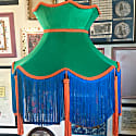 Green Velvet Crown Shade With Blue Fringe & Orange Tassels image