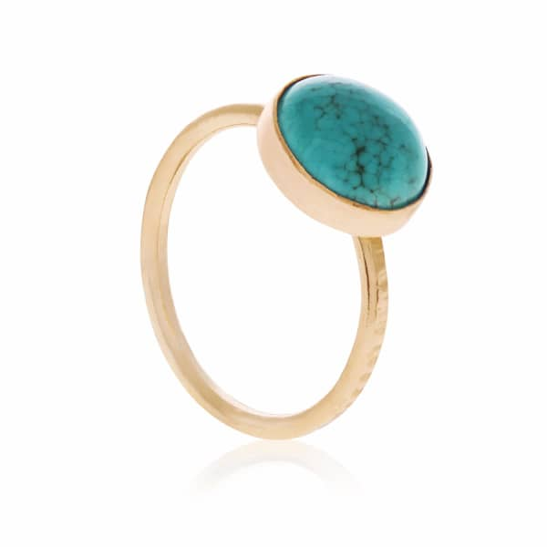 FEATHER+STONE Gold Chinese Turquoise Ring