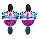 Colorful Glitter Leaf Statement Earrings In Resin & Acrylic image