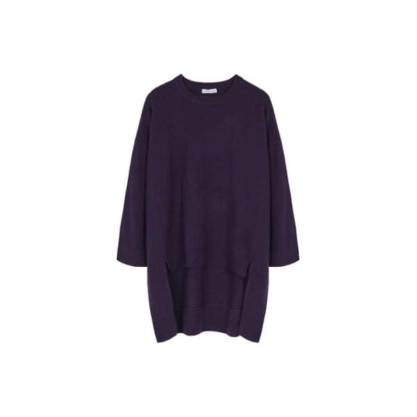 ILLE DE COCOS Merino Cape Sweater Violet Fleck in Purple