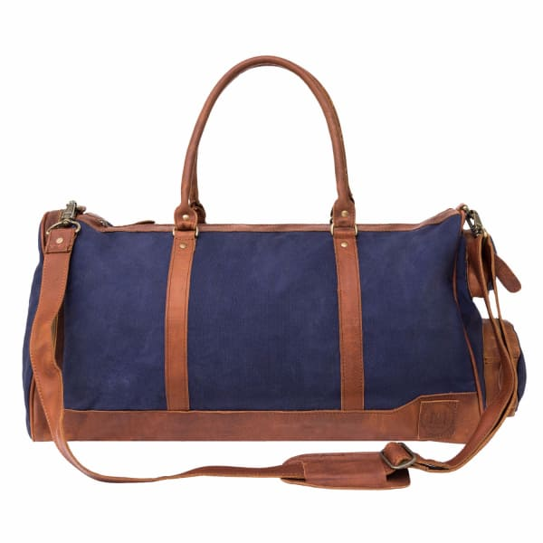 MAHI LEATHER Canvas Leather Columbus Holdall/Duffle Weekend/Overnight Bag in Navy Blue