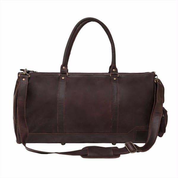 MAHI LEATHER Leather Columbus Holdall/Duffle Weekend/Overnight Bag in Vintage Mahogany