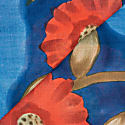Grande Fiore Cotton Foulard - Blue & Red image