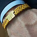 Mustard Leather Bracelet - Serac Gold image