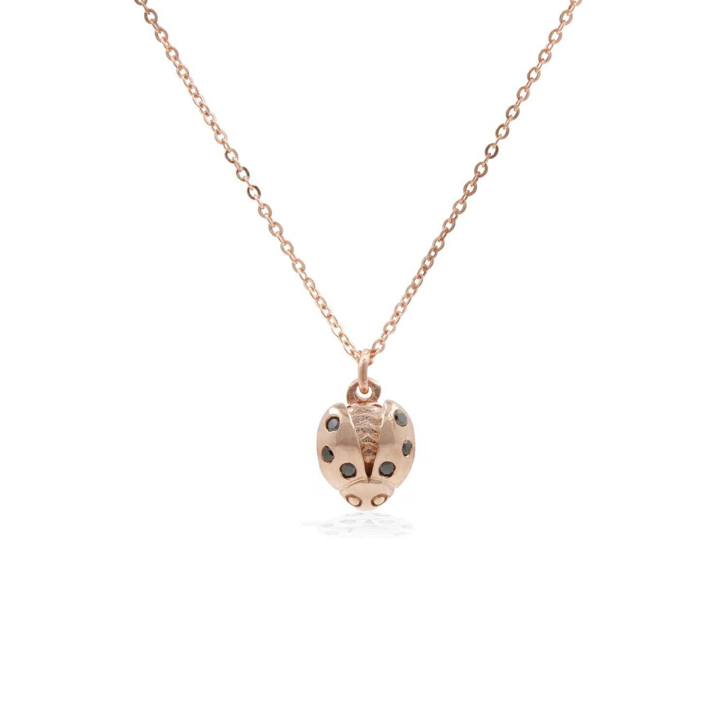 1e209d14d103a Ladybird Black Diamond Necklace (Wings Open) – Rose Gold by Lee Renee