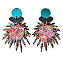 Confetti Pom Resin & Laser Cut Acrylic Statement Drop Earrings image