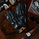 Rome - Men's Leather Driving Gloves In Blue & Camel Nappa Leather image