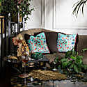 Aqua Chintz Silk Cushion image
