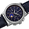 Mens Limited Edition Swiss Made Multifunction Moonphase Watch With Italian Leather Strap Blue & Silver image