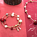 Freshwater Pearls With Red Coral Double Wrapped Bracelet image