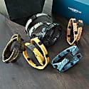 Royal Blue Leather Wrap Tarmac Bracelet With Black Studs image