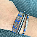 Handwoven Bracelet In Grey And Black Tones With Silver Details For Him image
