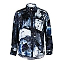 Smith Boyfriend Shirt 100% Silk Galena Abstract Print image