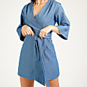 Mary H Wrap Dress Kimono In Blue Denim image