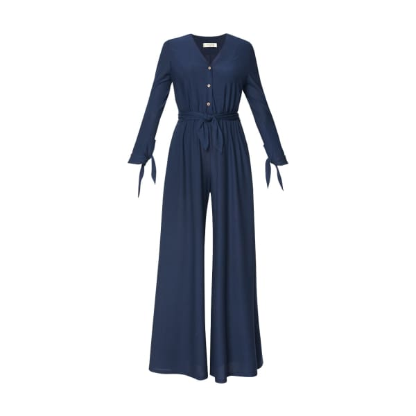 PAISIE V Neck Jumpsuit With Button Front & Wrap Belt In Navy in Blue