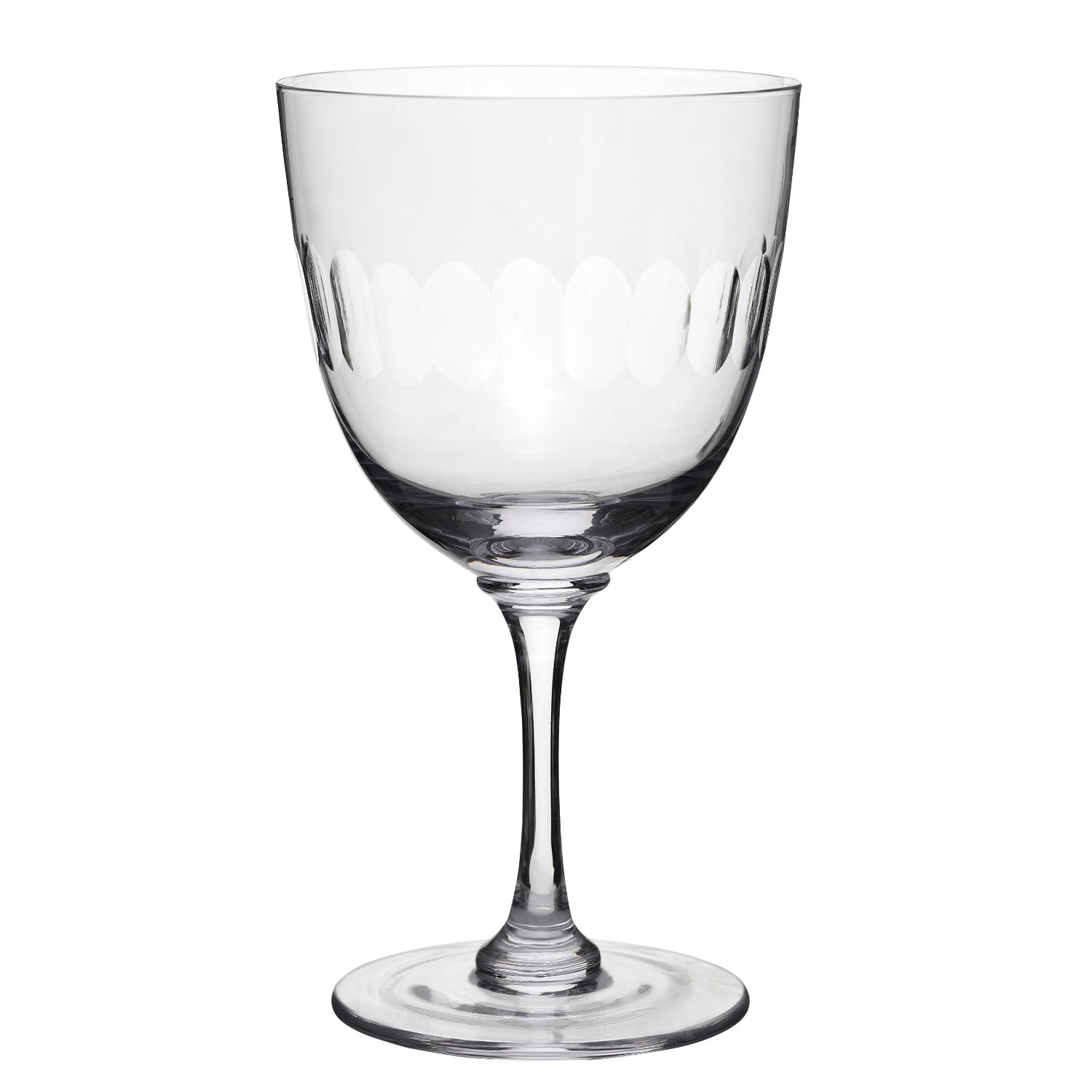 The Vintage List - Six Hand-Engraved Crystal Wine Glasses With Lens Design