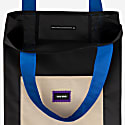 Tall Upcycled Tote Bag - Black & Beige & Blue image